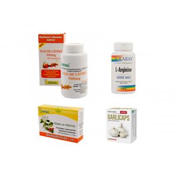 "Pachet ""Colesterol hipertensiune ateroscleroza"" Ulei de catina 900 MG 40 CPS Hofigal, L-Arginine 1000 MG 60 CPS Solaray, Gemoderivat mladite paducel 30 MDZ Hofigal, Garlicaps 30 CPS Parapharm"