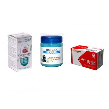 """Pachet """"Scapa de durerile articulare"""" - Artrocalm plus 50 CPS FarmaClass, Calciu marin cu vitamina D2 naturala 30 CPS Rotta Natura, Timburg gel albastru 500 ML Bingo Spa"""