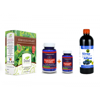"Pachet ""Glicemie sub control"" Glicemostabil 60+10 CPS Herbagetica, Sirop afine fara zahar 500 ML Hypericum, Ceai Glico-Plant 150 G Dorel Plant"