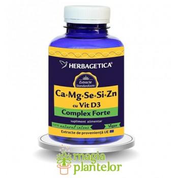 Ca+Mg+Se+Si+Zn cu Vit D3 Complex Forte 120 CPS - Herbagetica