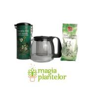 Ceai verde superior 100 G + ceainic sticla 1250 ML - Naturalia Diet